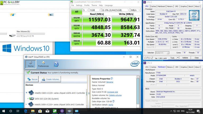 Test VROC RAID0 บน TYAN S7100AG2NR ติดตั้ง 1 CPU