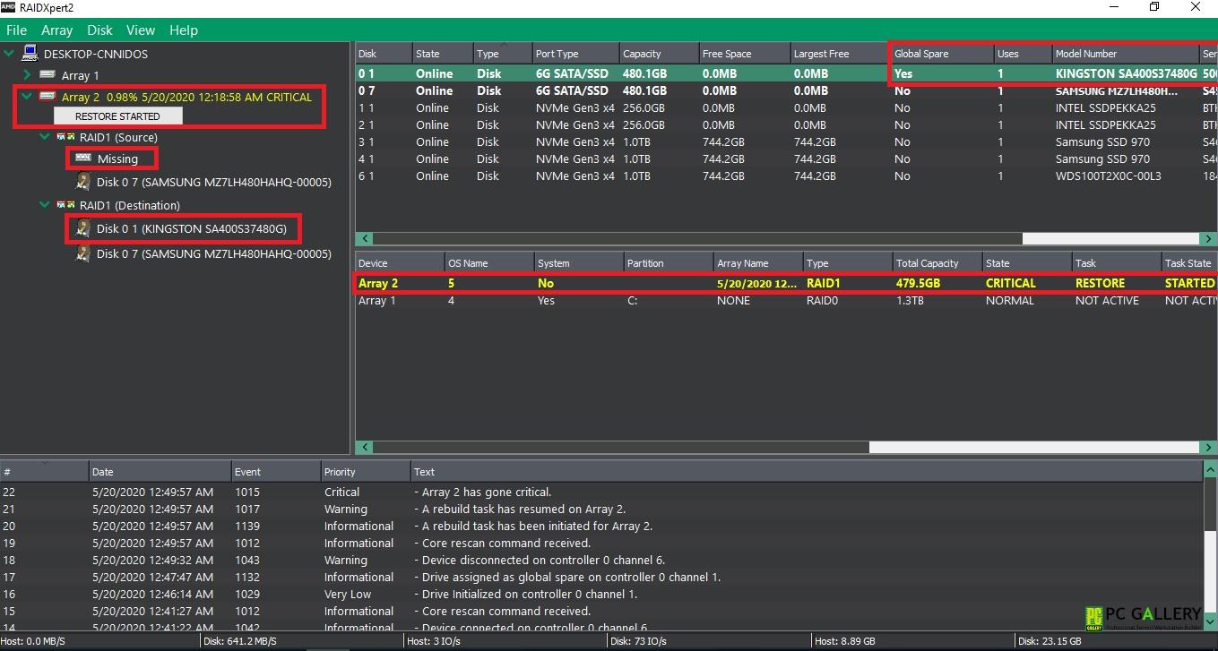สาธิตการทำ RAIDXpert2 Global Spare บน X470D4U2-2T