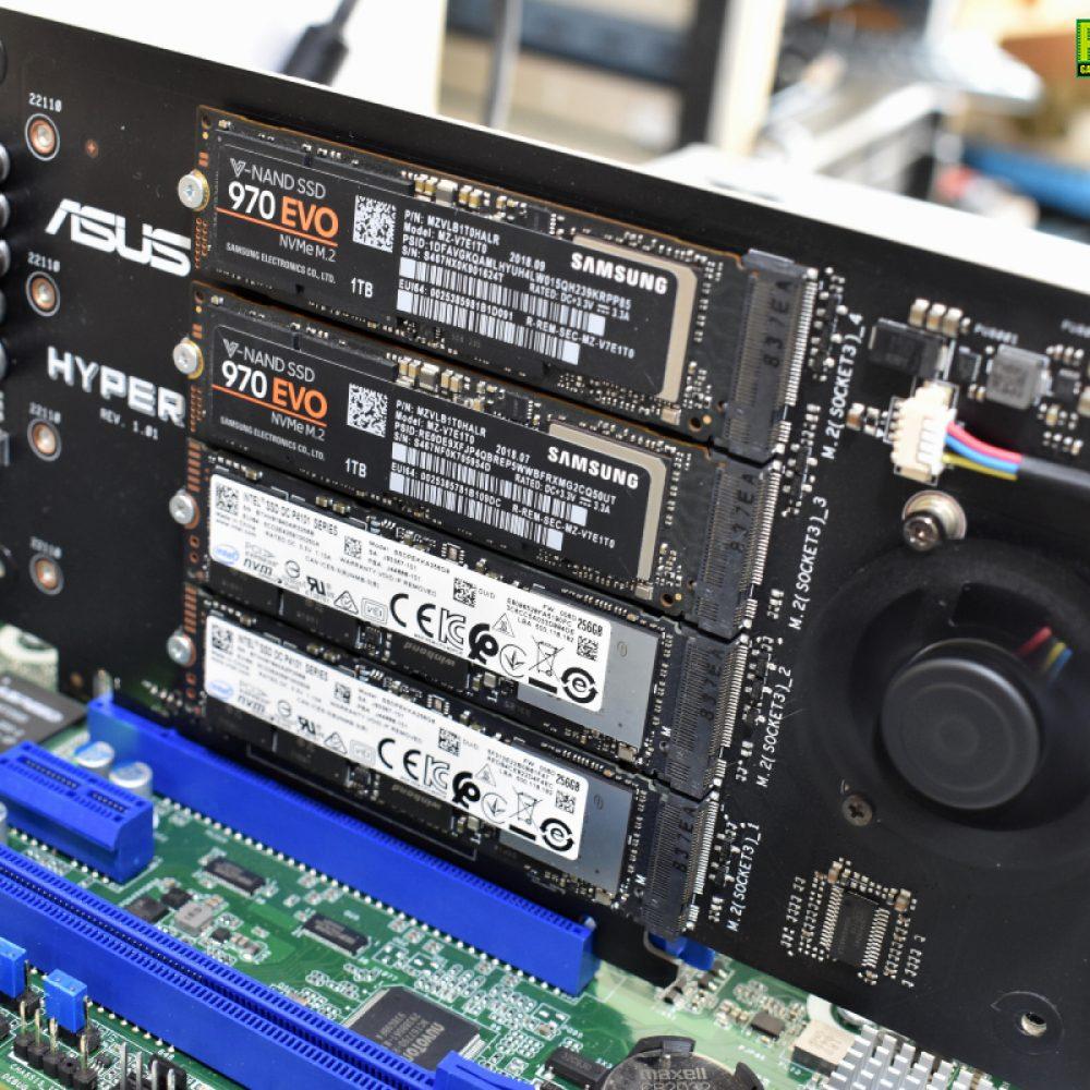 ASRock Rack X470D4U2-2T ทดสอบกับ ASUS Hyper M.2 X16 Card ติดตั้ง M.2 NVMe 4ตัว!!!