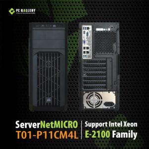 เครื่องคอมพิวเตอร์ Server NetMICRO T01-P11CM4L, Intel Xeon E-2124 3.30GHz 4cores-4threads, Intel RST RAID 0/1/5, ECC Memory, Dual GbE LAN ราคาพิเศษ 1ชุดเท่านั้น