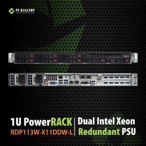 เครื่องเซิฟเวอร์ 1U PowerRACK RDP113W-X11DDW-L, Dual Intel Xeon® Silver 4210 2.20 GHz, 10Cores-20Threads, Dual GbE LAN, RAID 0/1/5/10